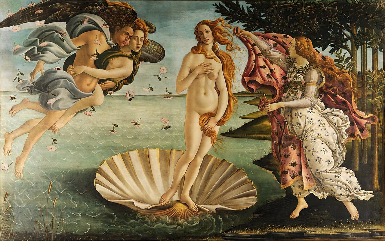 venus coquillage nue naissance ange voile mer Botticelli