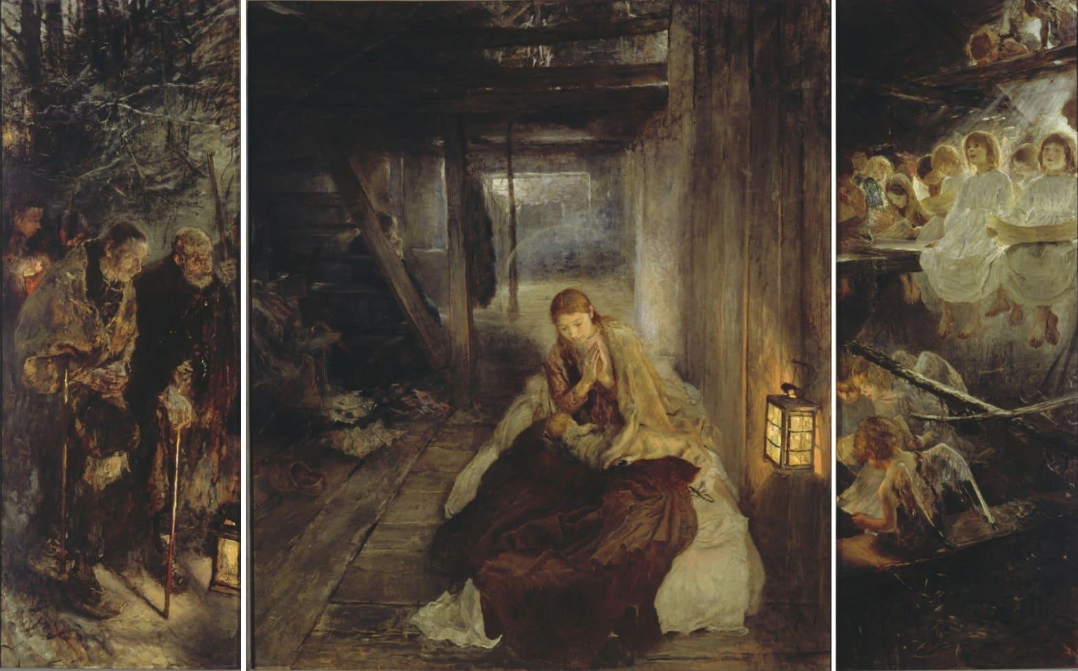 triptyque grange naissance jésus marie sombre Fritz von Uhde
