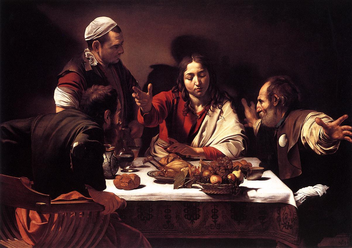 jesus pelerins emmaüs diner table nourriture Le Caravage