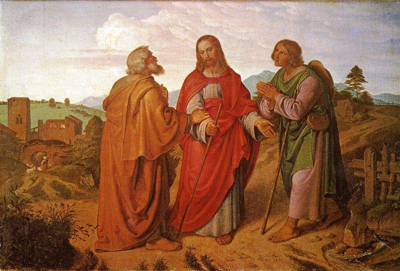 Pèlerins emmaüs Jésus rencontre dialogue chemin Von Führich