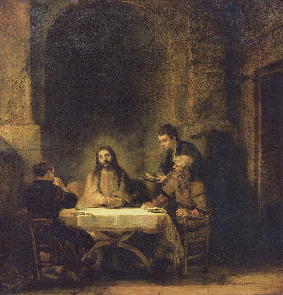 table jésus pèlerins emmaüs enseignement Rembrandt
