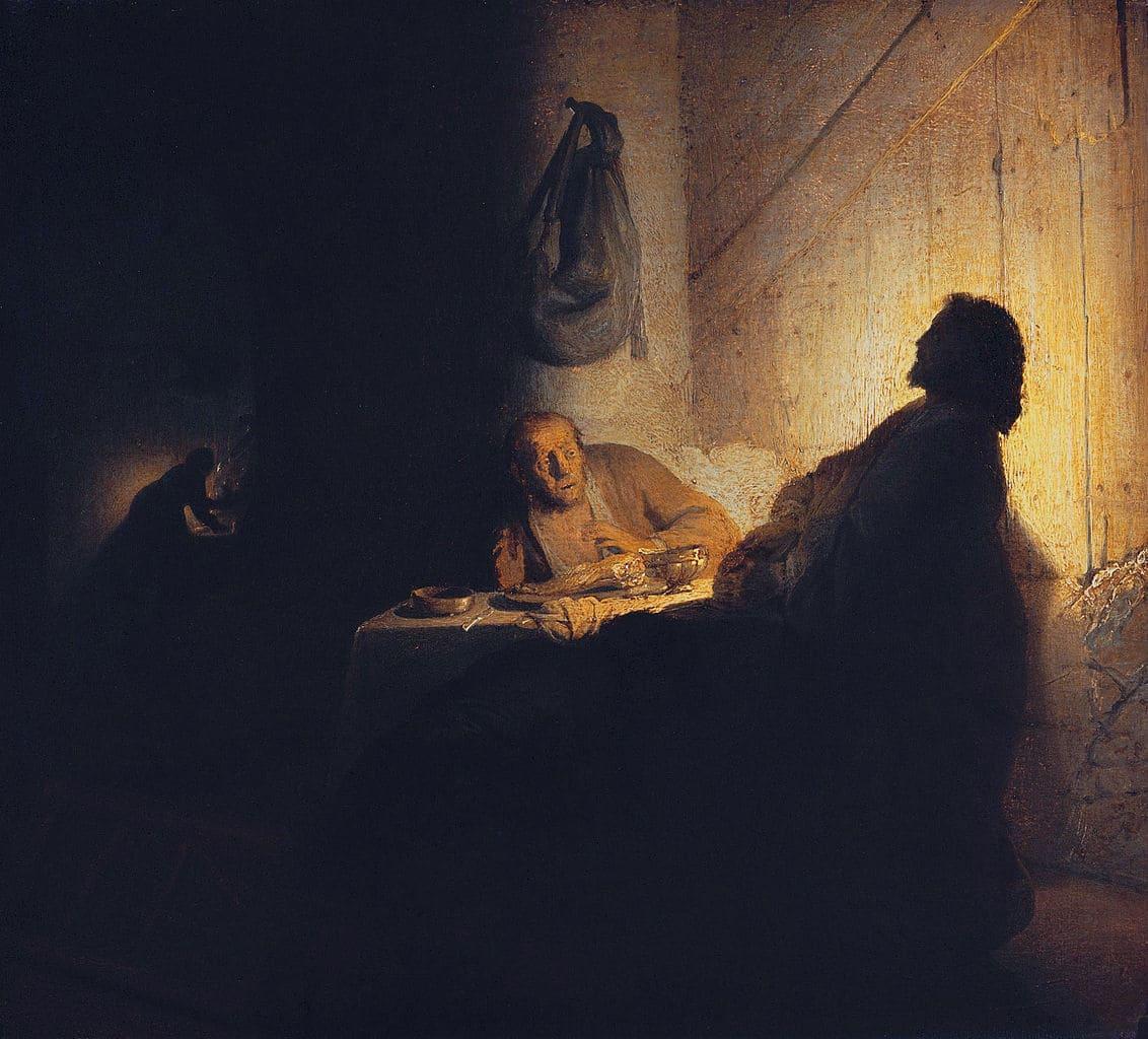 souper jésus emmaüs clair obscur lumière Rembrandt
