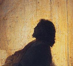 Jésus profil lumiere sombre tableau Rembrandt