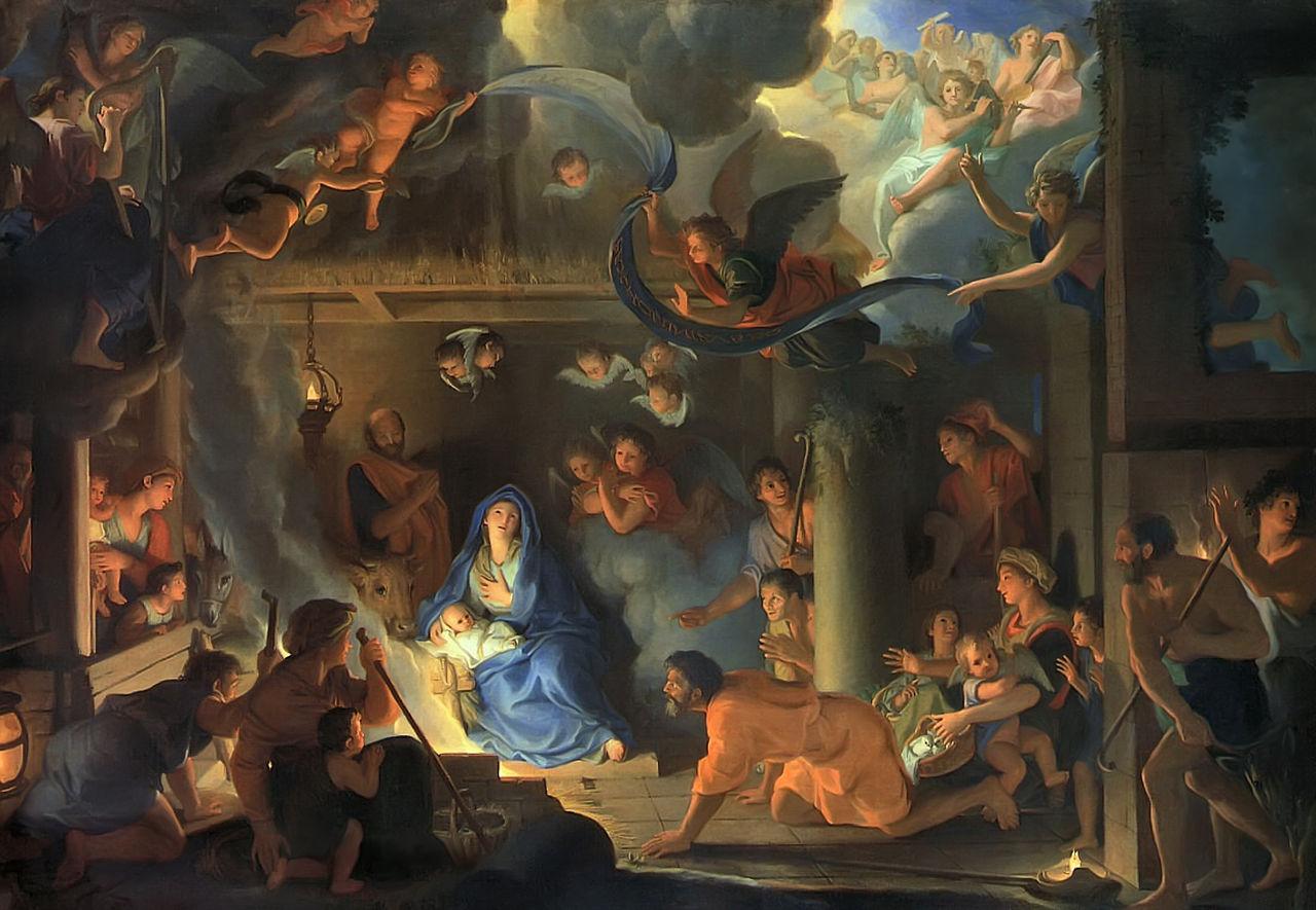 adoration bergers naissance jésus marie bleu foule Lebrun
