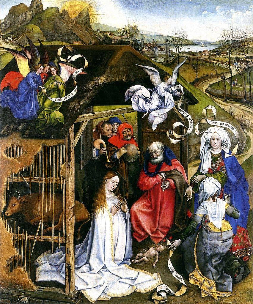 nativité foule joseph marie jésus bergerie étable Campin