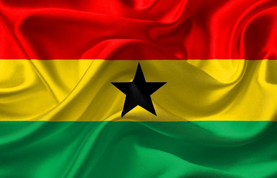 drapeau Ghana rouge jaune vert etoile