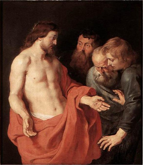 jésus thomas incrédulité main trou Rubens