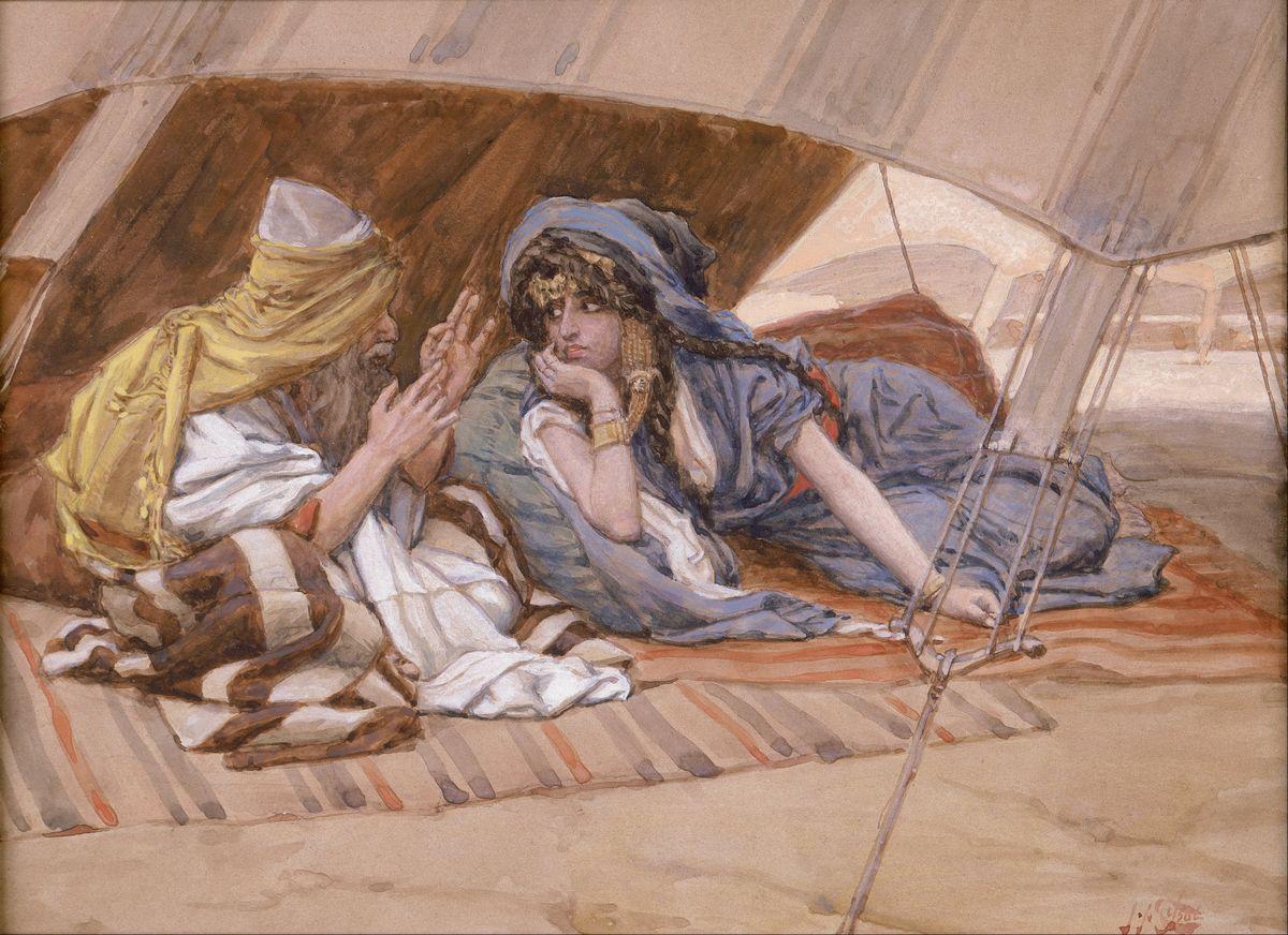 Conseil d'Abraham Sarah tente désert tapis James Tissot