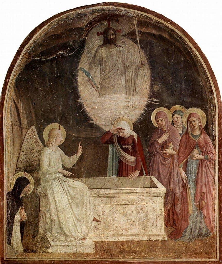 tombeau vide ange assis jésus femmes oréole Fra Angelico