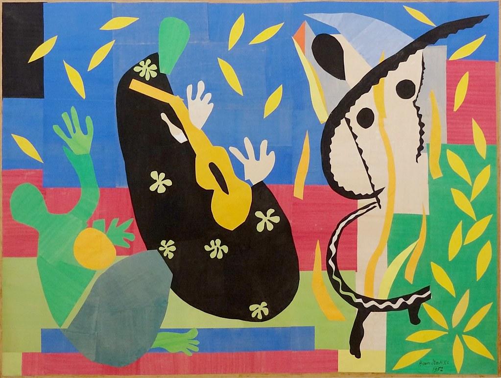 roi triste couleur feuille main guitare Matisse
