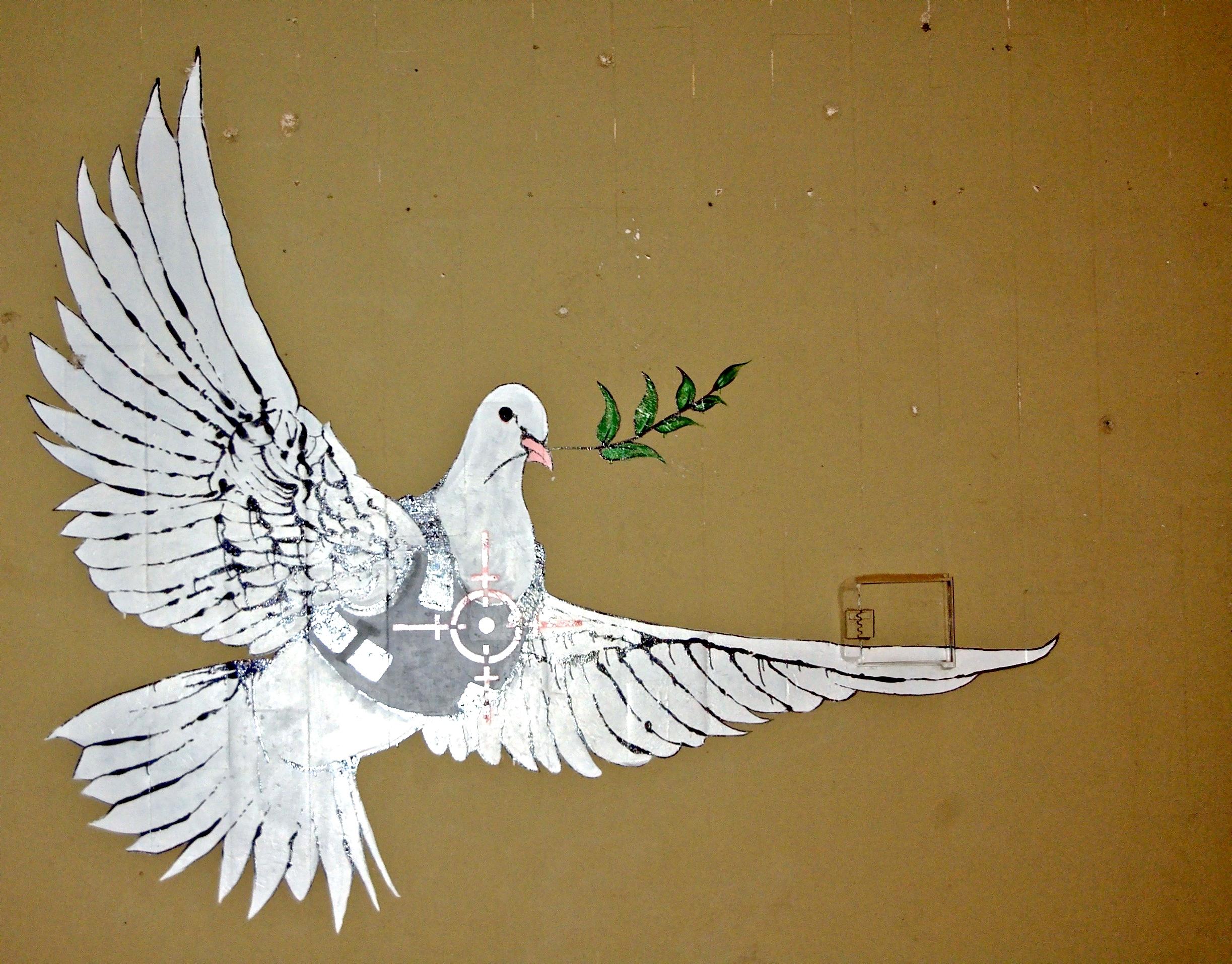 Colombe sous les balles graffiti Mur Tombeau de Rachel Bethléem Cisjordanie Banksy