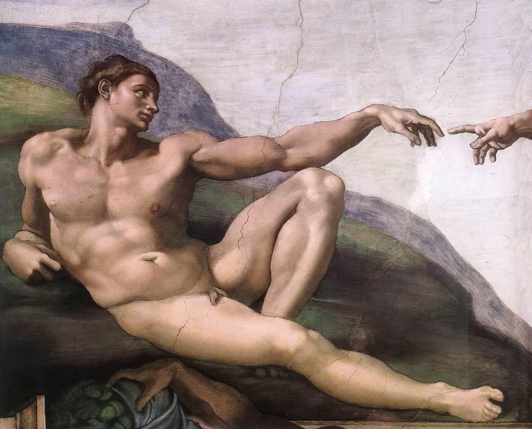 création adam dieu doigt nu homme Michel-Ange