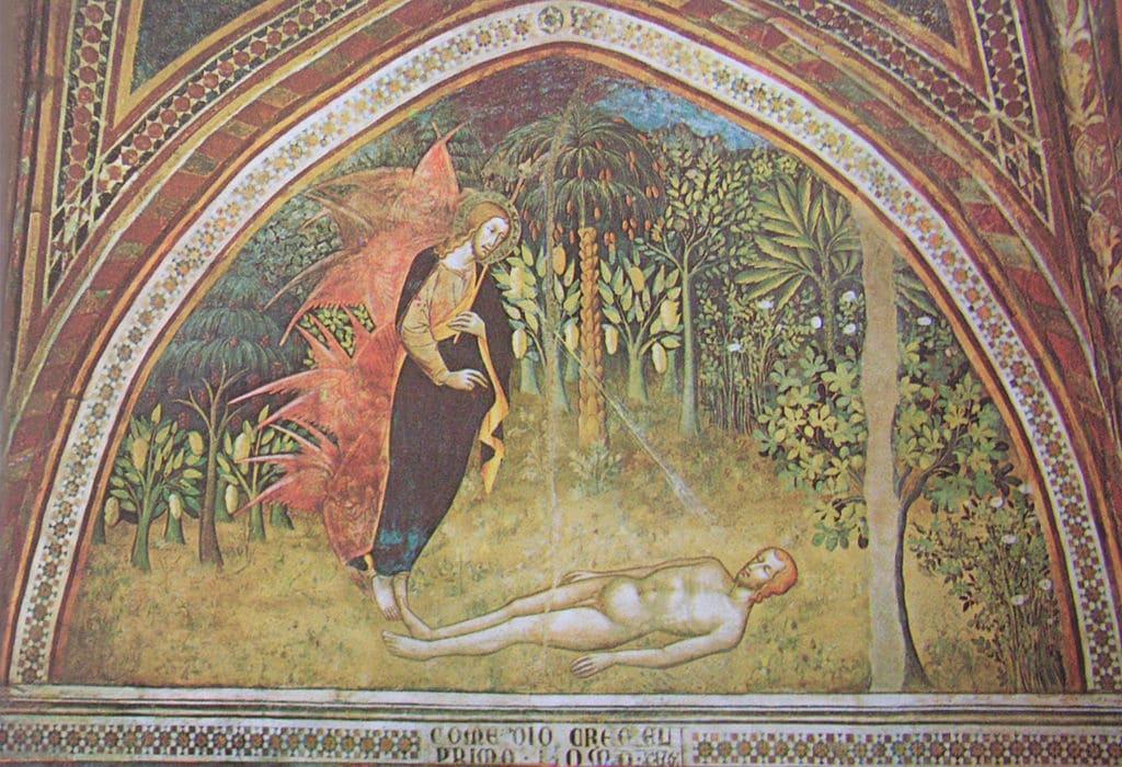 création homme dieu adam allongé nature jardin Bartolo di Fredi