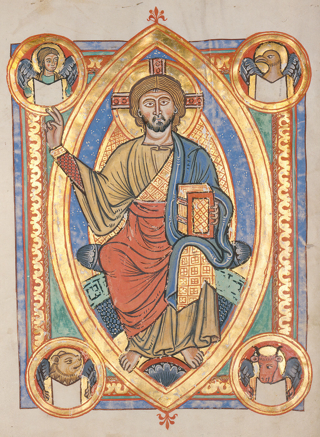 Représentation Jésus-Christ or bleu rouge manuscrit médiéval Codex Bruchsal Karlsruhe