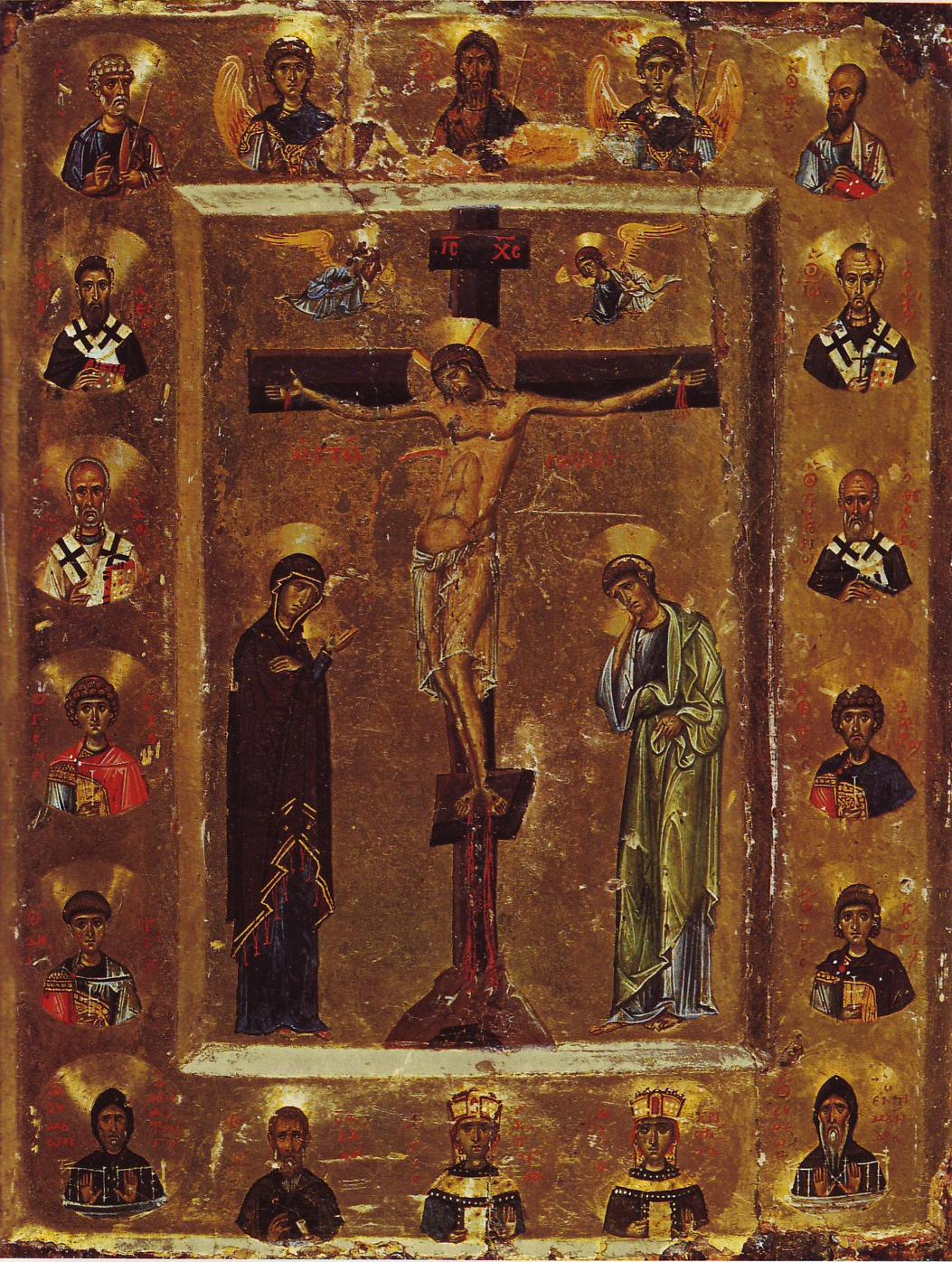 Icône Crucifixion Christ croix or saints communauté