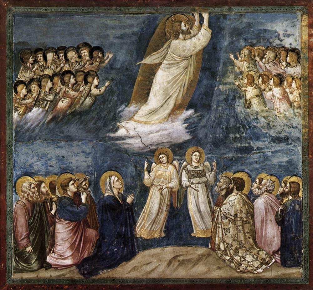 Christ Ascension nuage apôtres anges fresque Giotto di Bondone