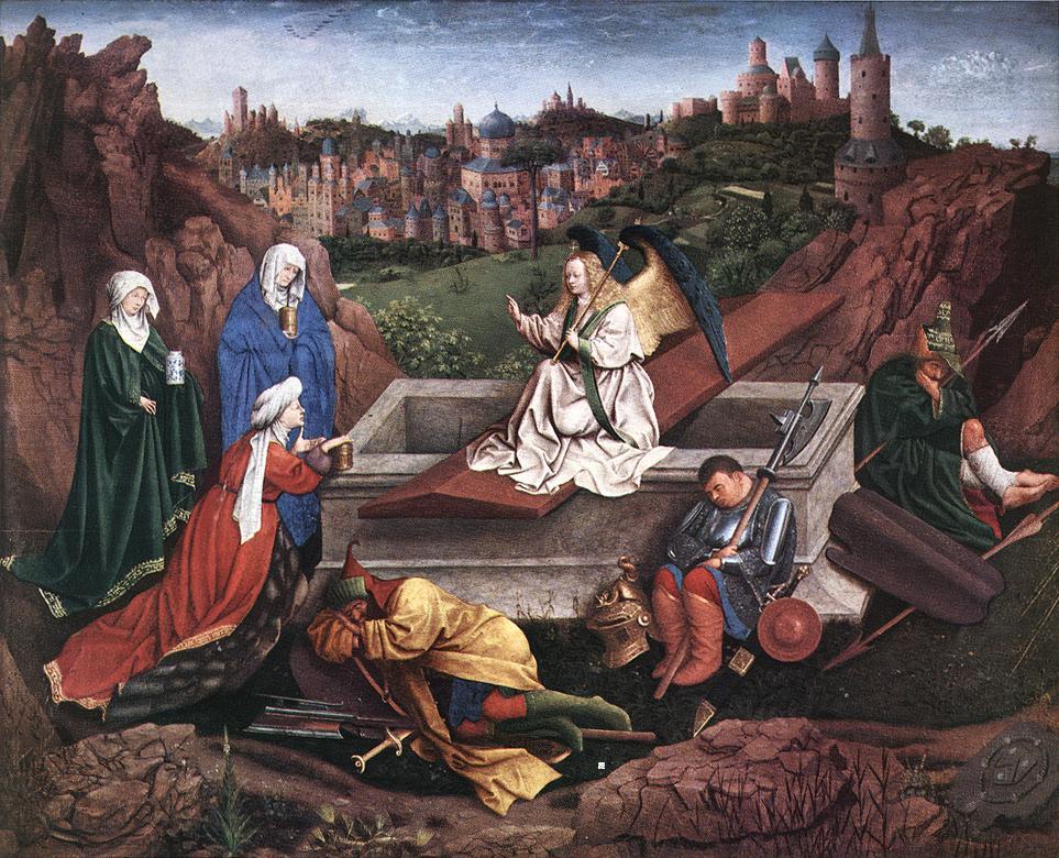 Trois Maries tombeau Jésus ange garde endormi Hubert van Eyck Jan van Eyck