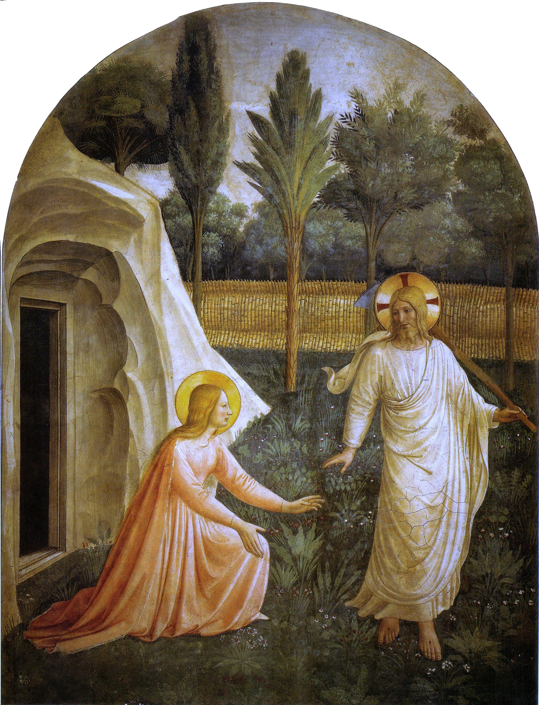 Jésus Marie-Madeleine mains tombeau jardin Fra Angelico