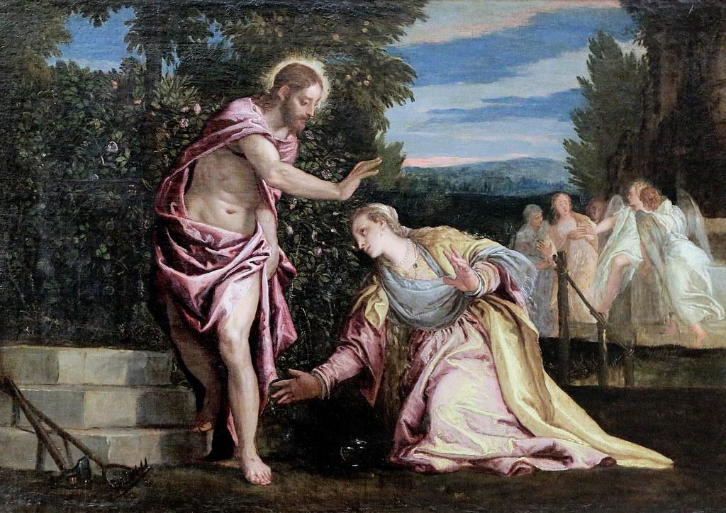 Jésus Marie-Madeleine drapé rose verdure jardin mains tombeau Véronèse
