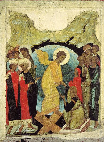 Christ descente enfer croix apôtres ange Andreï Roublev