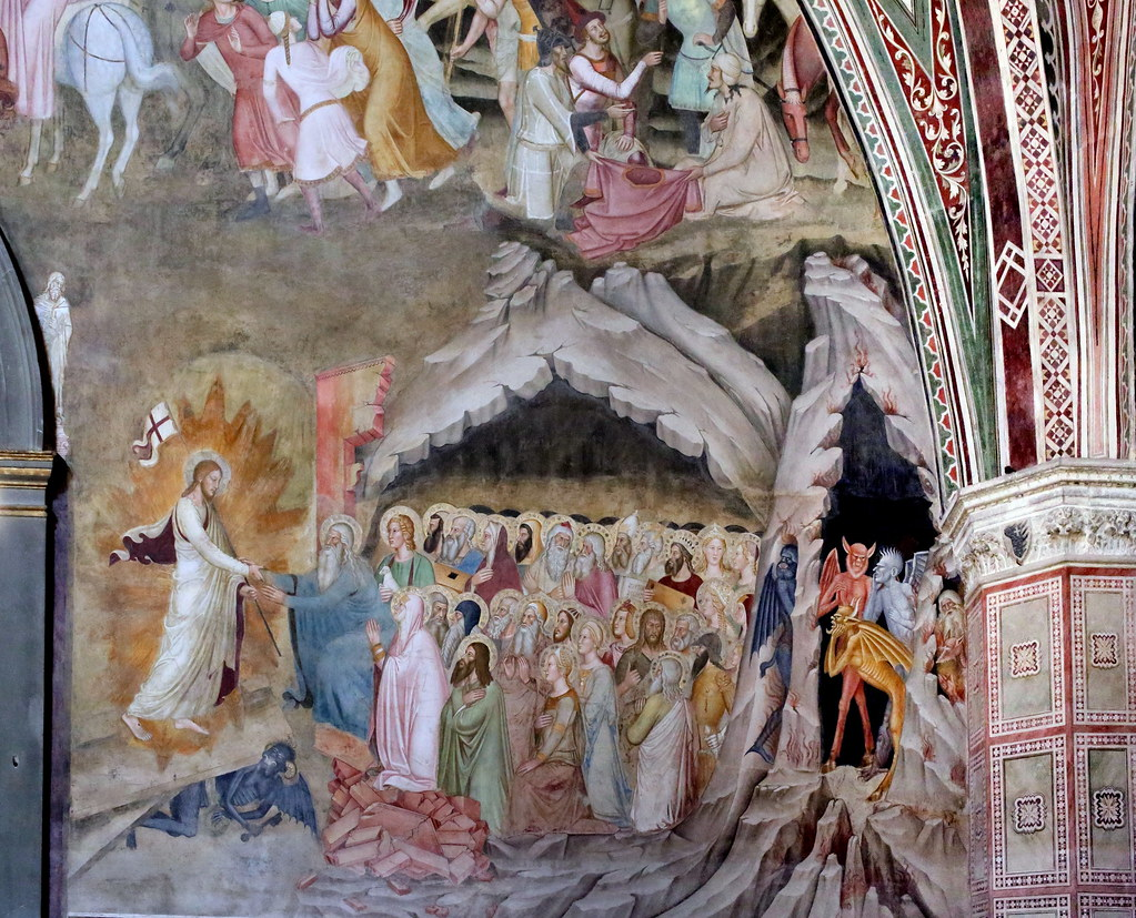 Crucifixion descente enfer Jésus flammes fresque église Andrea da Firenze
