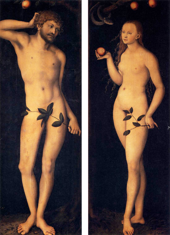 adam eve homme femme pomme péché nu lucas cranach L'ancien