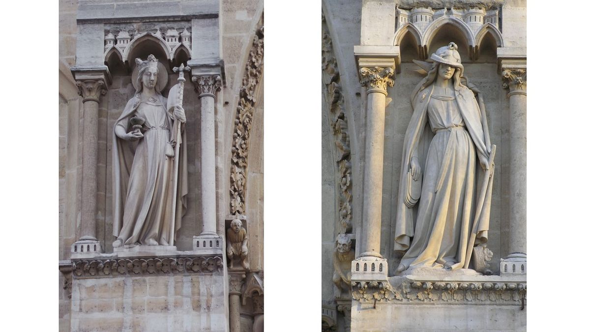 statues notre dame yeux couverts crosse coupe