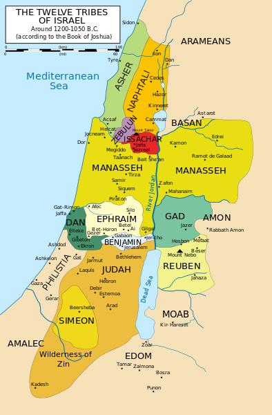 carte israel douze tribus couleurs
