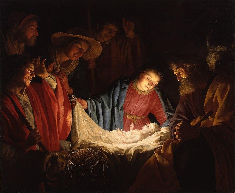 nativité crèche Jésus enfant lumière entouré public Marie Joseph bergers Gerrit van Honthorst