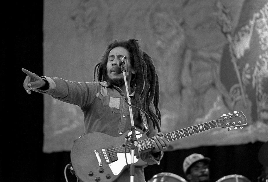 bob marley concert guitare raggae dreadlocks doigt