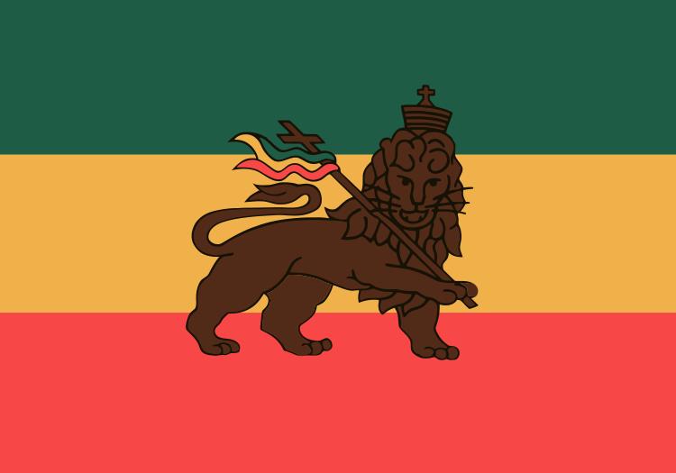 drapeau ethiopie lion de juda empire croix rasta