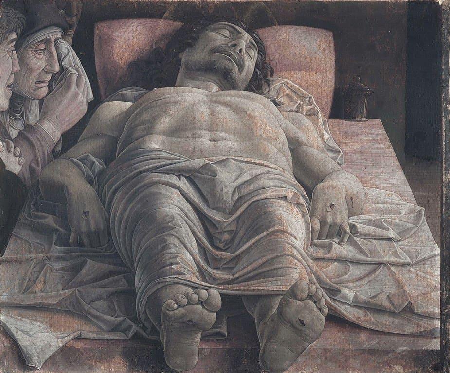christ mort lamentation corps inerte lit Mantegna