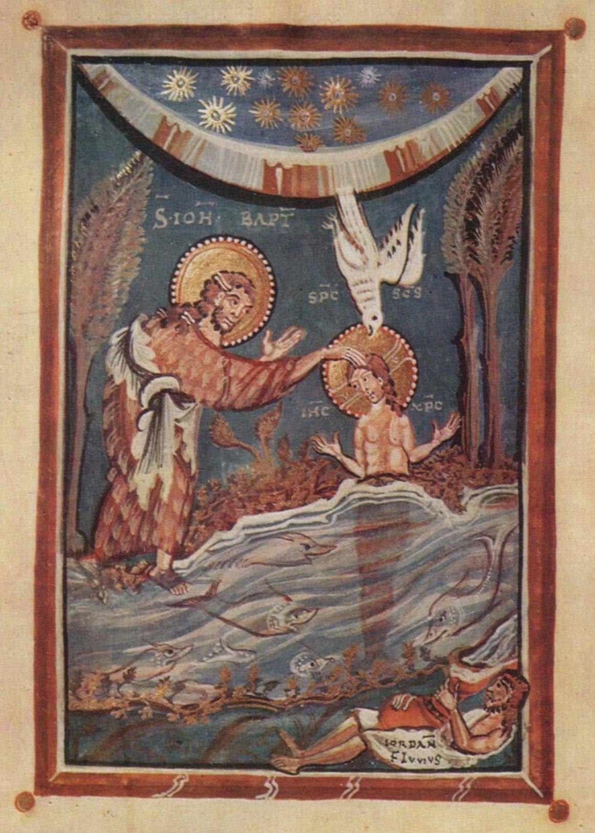 bapteme jésus jourdain fleuve icone baptiste