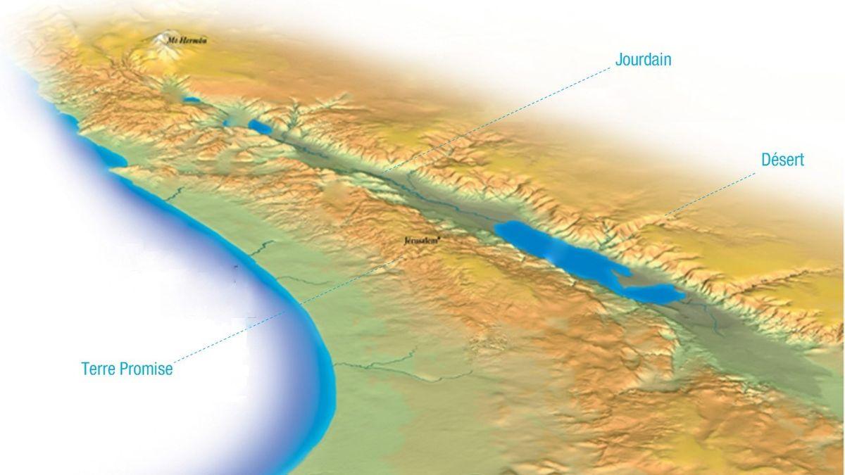 carte géographie jourdain fleuve relief