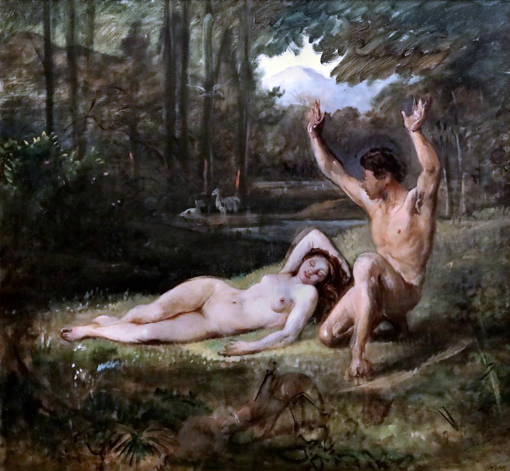 Eve nouvelle nue allongée forêt Adam Marstrand