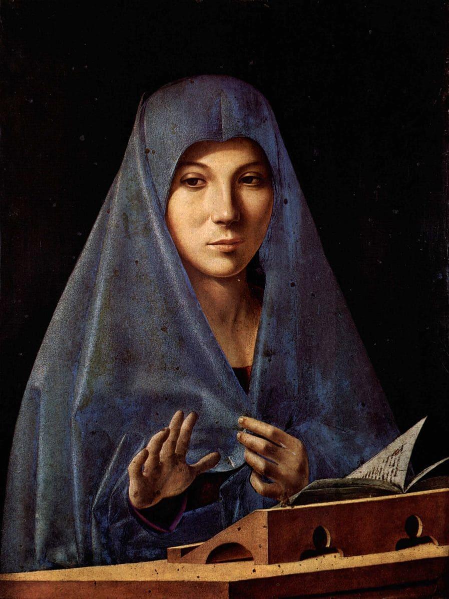 vierge marie drapé bleu main livre