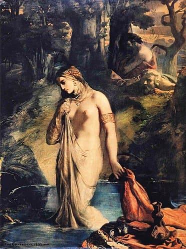 femme  nue eau arbre belle drapé