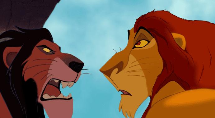 lions dessin animé mufasa scar