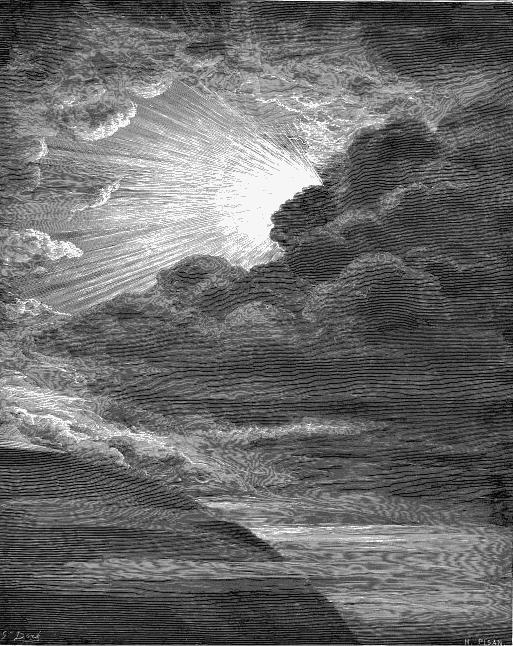 gravure soleil perce nuages brume montagne