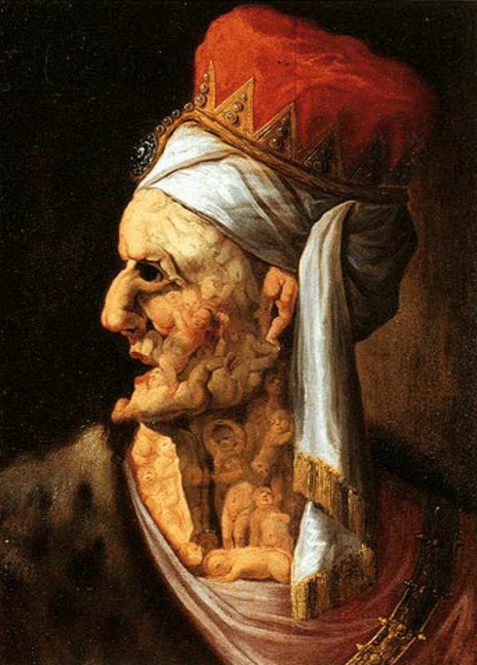 homme profil drapé blanc chapeau rouge