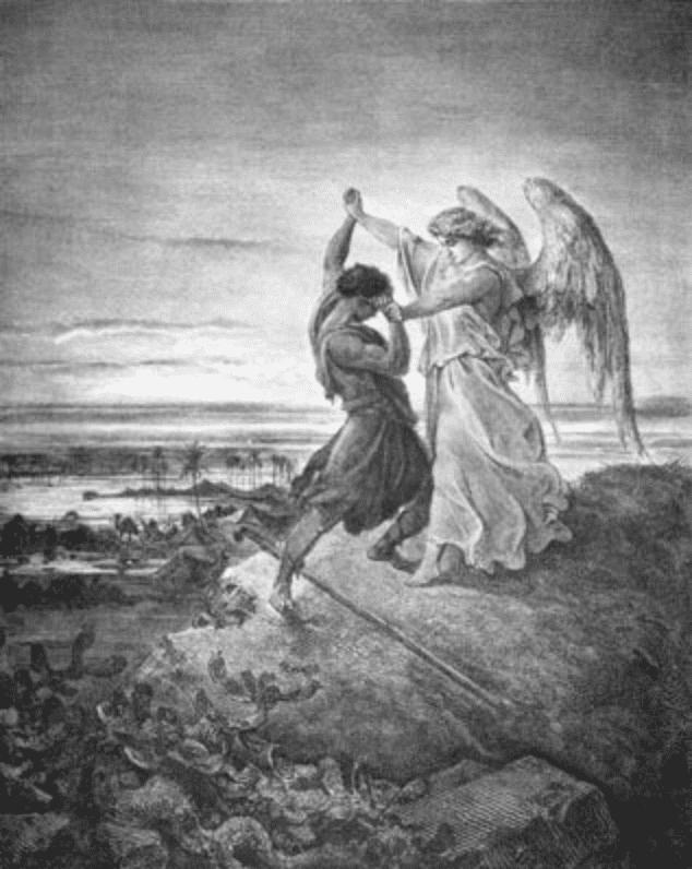combat homme ange colline eau ciel