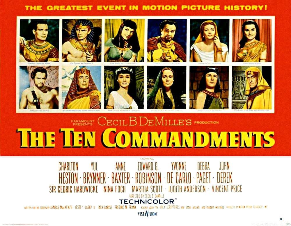 film 10 commandements rouge texte jaune