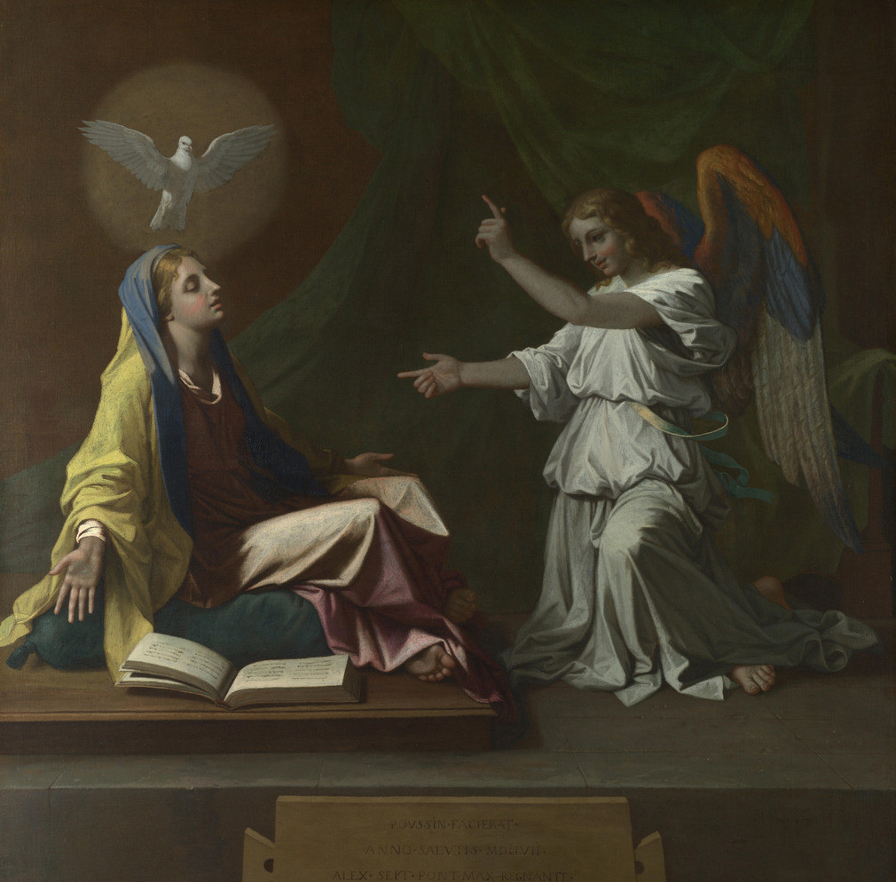 vierge Marie Ange annonciation colombe livre Nicolas Poussin