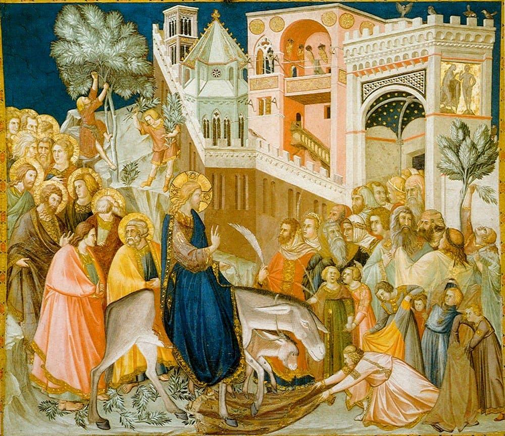 Jésus âne Jérusalem foule rameaux Pietro Lorenzetti