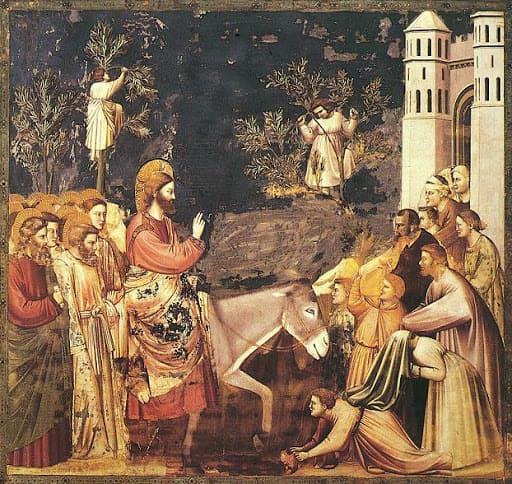 Entrée à Jérusalem âne Jésus rameaux foule auréoles Giotto di Bondone
