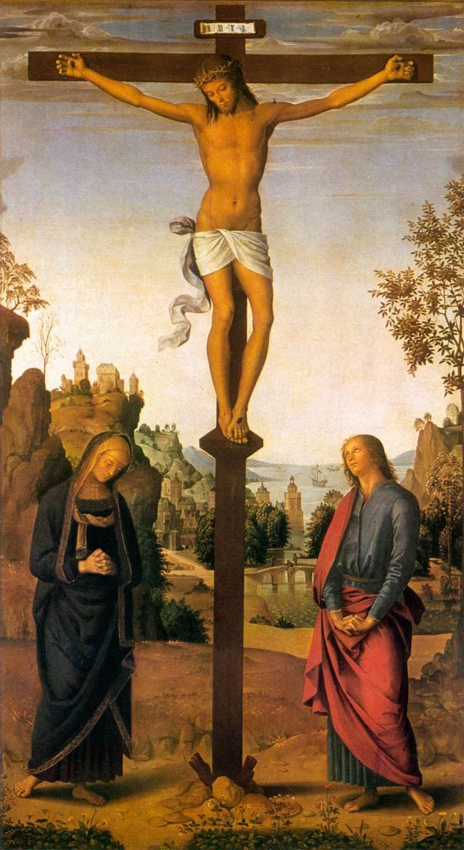 croix Jésus mort linge couronne d'épine Marie Jean prière Le Pérugin