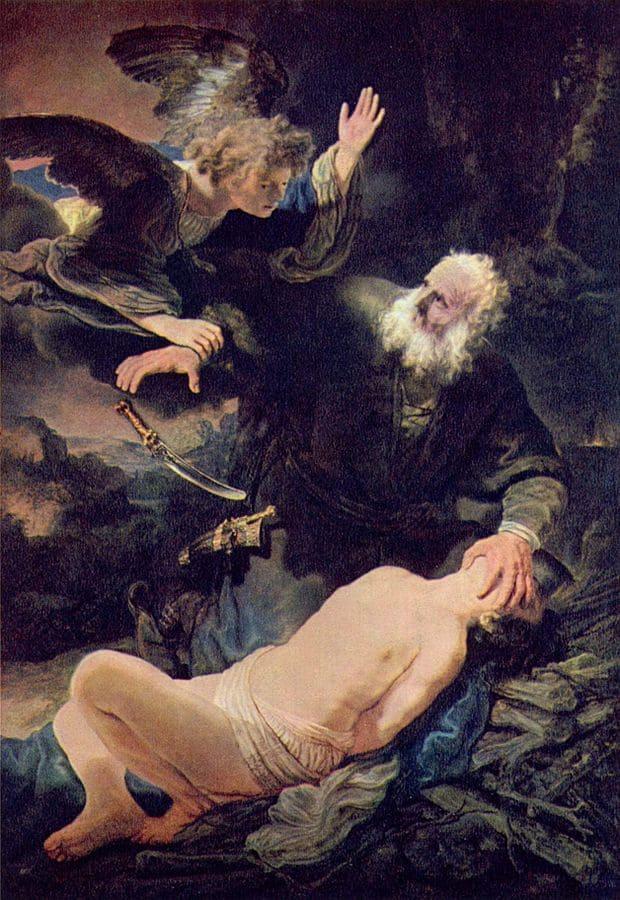 Sacrifice Isaac Abraham couteau ange Rembrandt