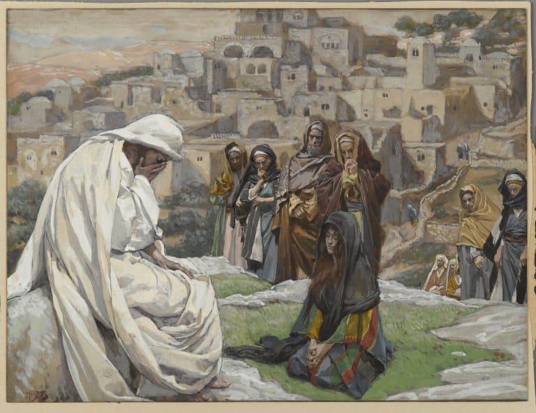 Jésus pleurer souffrance mains visage agenouille James Tissot