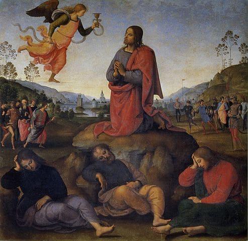Agonie jardin oliviers Jésus prière apôtre ange calice Jérusalem Pérugin