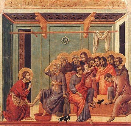 lavement des pieds salle bleu drapés rouges apôtres 12 Jésus Duccio di Buoninsegna
